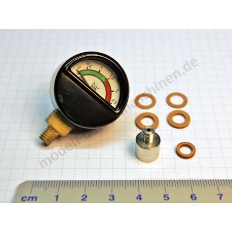 Manomètre avec raccordement au dessous filetage M6, diamètre 30 mm, avec adaptateur 01529