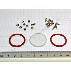 Wasserstandsglas 27 mm mit Schrauben, Muttern und Dichtungen