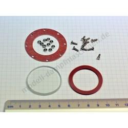 Verre de niveau d'eau, épaisseur 4 mm, diamètre 37 mm avec vis, écrous et joints (production à partir de 1976)