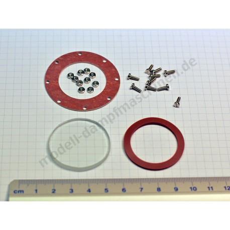 Wasserstandsglas, 4 mm Stärke, 37 mm, mit Schrauben, Muttern und Dichtungen (Fertigung ab 1976)