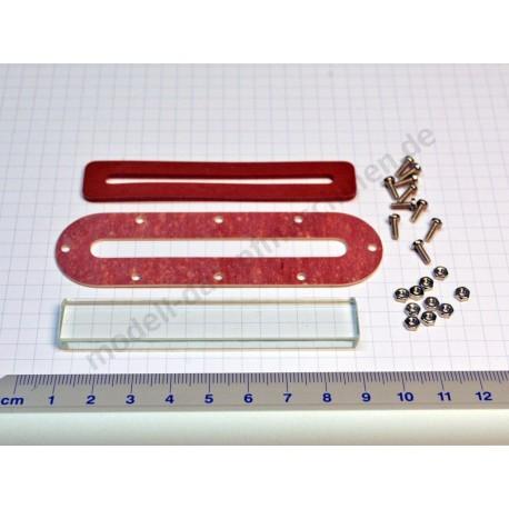 Wasserstandsglas 80 x 14 x 5 mm, mit Schrauben, Muttern und Dichtungen
