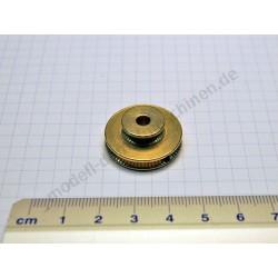 Poulie d'entrainement double, 25 mm diamètre, laiton luisant