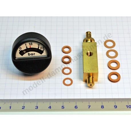 Socle laiton pour manomètre, filetage 12 x 12 mm, pièce de connection M6x 0,75, soupape de sécurité à ressort et manomètre