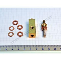 Socle laiton pour manomètre, filetage intérieur 12 x 12 mm, dessus M6 x  0,75 et latéral M6
