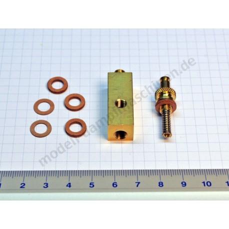 Manometersockel MS, 12x12 m Innengewinde oben M6 x 0,75 und seitlich M6